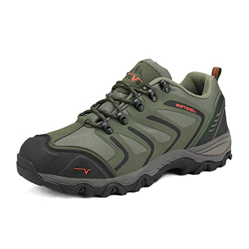 NORTIV 8 Men's-low Army Green Black Orange Low Top Waterproof Hiking Boots