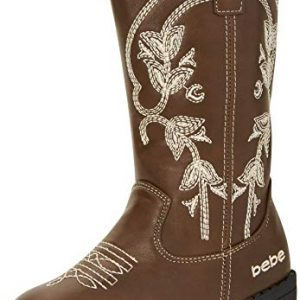 bebe Girls Western Cowboy Boot with Easy Side Zipper