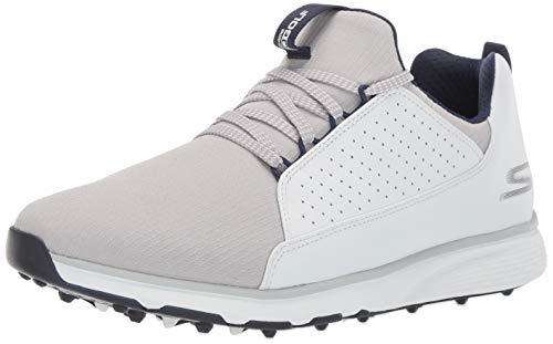 Skechers Men's Mojo Waterproof Golf Shoe, White/Gray Textile