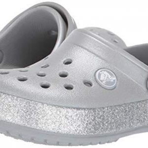 Crocs Kid's Glitter Clog, Silver, 5 M US Big Kid