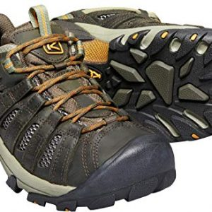 KEEN Men's Voyageur Trail Shoe, Black Olive/ Inca Gold