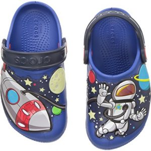 Crocs Unisex-Kid's FunLab SpaceExp Lights Clog, Blue Jean