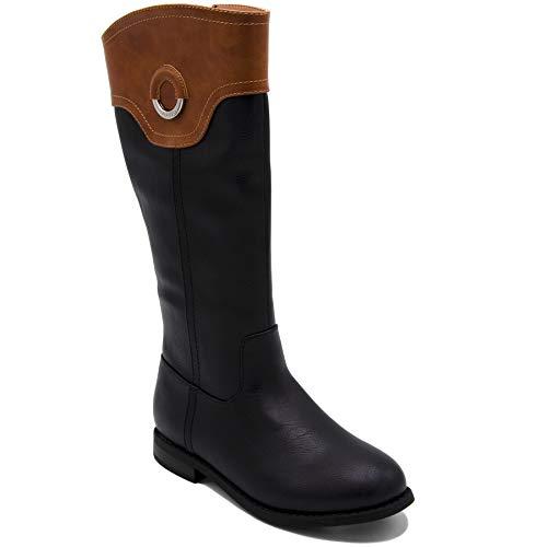 Nautica Girls Youth Knee High Fashion Riding Boots-Gallatin-Black/Cognac