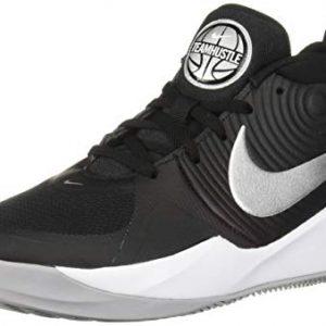 Nike Unisex-Kid's Team Hustle D 9 (GS) Sneaker, Black/Metallic Silver-Wolf Grey