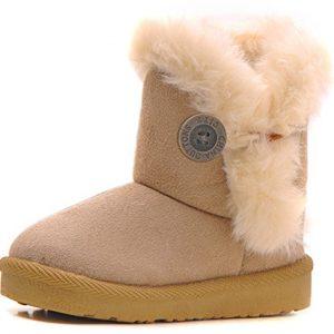 Femizee Girls Boys Warm Winter Flat Shoes Bailey Button Snow Boots