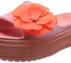 Crocs Crocband Platform Vivid Blooms Slide Sandal, melon