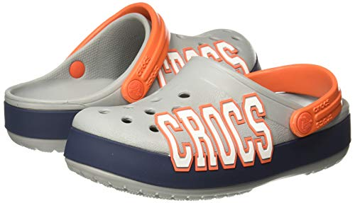 Crocs Kid's Crocband Logo Clog, Light Grey/Navy