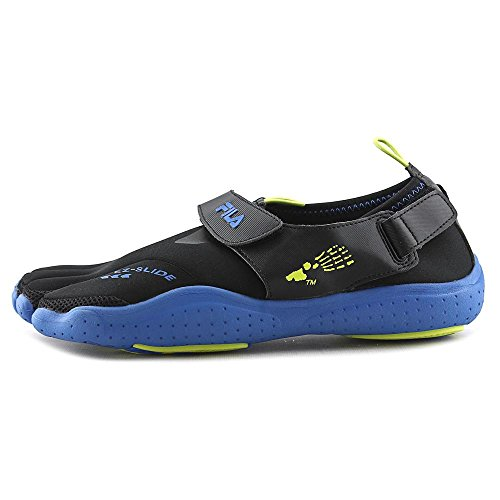 Fila Skele-Toes EZ Slide Drainage Black/Limepunch/Blue Mens Water Sports Drain Tech - These shoes have a unique design feature that allows water to simply drain through them, thus making for the ideal shoe to wear at the beach. EZ Slide - Feature that allows the foot to easily slide in and out of the shoe without socks, thanks to the shoe's utilization of fabrics and synthetic materails. Synthetic upper - Few people who want activewear toe shoes want leather, and it's because synthetic is stronger, waterproof, and will ultimately stay a whole lot cooler on the foot. Two fasteners - These Fila shoes are actually ideal for running, not only for beach-wear, and so they have a strong bungee fastener along the top, but also an adjustable fastener on the back for improved stability, comfort, and non-slip protection. Four-way stretch fabric - This beneficial feature of the Fila toe shoes means that the foot is actually cradled by stretchable fabric and mesh, not relying entirely on the synthetic upper, which creates a lot more strength and durability for long-term wear. Kele-Toes EZ Slide Drain Shoes - Fila makes a lot of quality shoes, and even some for the beach bum in you. The Kele-Toe shoe is, of course, a toe shoe, featuring EZ slide technology to quickly get them on and off, two adjustable fasteners for stability and staying power, and a lightweight material that drains moisture away. Along with an air mesh upper and four-way stretch fabric, this is a quality shoe that can hold up to actual wear. Toe shoes, for most people, are niche products, almost considered novelties, because of their unique shape. However, Fila does things differently with this shoe, making a toe shoe that's a lot more comfortable and also very easy to drain away water. Opened in 1911 in Biella, Italy, Fila was opened by brothers who were dedicated to using the best materials to create the best products. Today, we celebrate over a centurty of Fila, and we are well acquainted with the Fila brand and everything they have to offer, from shoes and socks to pants, hats, tops, and so much more.