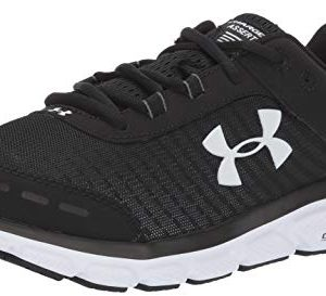 Under Armour Men's Charged Assert 8 Running Shoe, Black (001)/White, 11.5