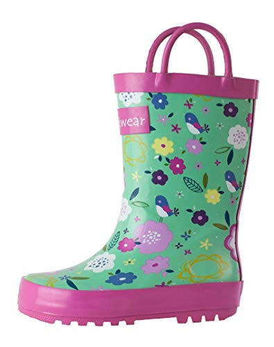 OAKI Kids Rubber Rain Boots with Easy-On Handles, Green Floral
