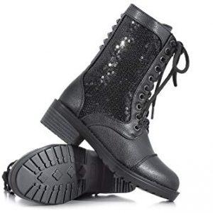 Girls Combat Boot,Black,