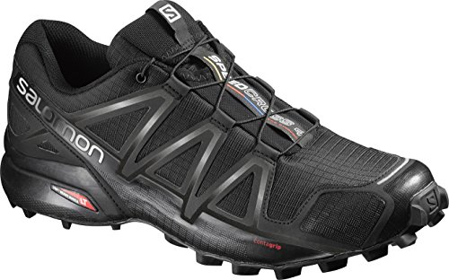 Salomon Men's Speedcross 4 Trail Running Shoes, Black/Black/BLACK METALLIC, 9.5