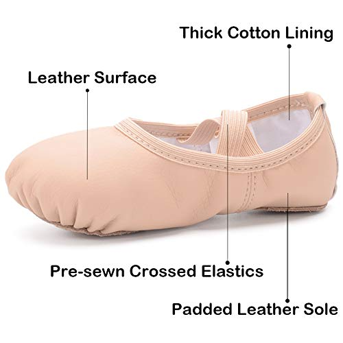 Ruqiji Leather Ballet Shoes for Girls/Toddlers/Kids/Women, Full Sole Leather Ballet Attention! Please choose the right size for yourself according to the size chart picture. We advise that: wider foot, longer toe foot, hallux valgus foot and higher instep foot - +1 size; normal foot - standard size; narrow foot - -1 size. COMFORTABLE MATERIAL: Made of high quality leather tops, skidproof leather soles INGENIOUS DESIGN: Looks delicate with the bowknot shape of embroidery; Designed with adjustable elastic drawstrings to make the shoes suit your feet well; covered edge with cotton cloth to make sure you have a good feeling of feet COMPLETE COLOR AND SIZE: Classic colors and complete sizes for your reference MULTI-PURPOSE USE: Suitable for ballet dance, jazz, gymnastics, yoga, modern dance, ballroom dance, dance training, physique lesson and etc.; suitable in all seasons MONEY BACK GUARANTEE: If you are not satisfied with Ruqiji ballet shoes, we will refund with no questions. Please leave your messages if you have any questions. We will reply you within 24 hours and offer you best service. About Ruqiji Ruqiji is devoted into producing high-quality ballet shoes. We have 20 years of experience in professional dance/ballet shoes making. Our products are designed according to human engineering, integrating the performance of comfort, wear, health and nice appearance, which brings perfect experience to dancers. Feature Superior leather shoes upper High quality comprehensive lining Excellent durable leather soles Size Map Foot Length:130mm-Toddler-5M US Foot Length:135mm-Toddler-6M US Foot Length:140mm-Toddler-7M US Foot Length:145mm-Toddler-8M US Foot Length:150mm-Toddler-8.5M US Foot Length:155mm-Toddler-9M US Foot Length:160mm-Toddler-9.5M US Foot Length:165mm-Toddler-10M US Foot Length:170mm-Little Kid-10.5M US Foot Length:175mm- Little Kid -11M US Foot Length:180mm- Little Kid -11.5M US Foot Length:185mm- Little Kid -12.5M US Foot Length:190mm- Little Kid -13M US Foot Le