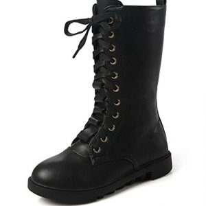 DADAWEN Kid's Girls Leather Lace-Up Zipper Mid Calf Combat Riding Winter Boots