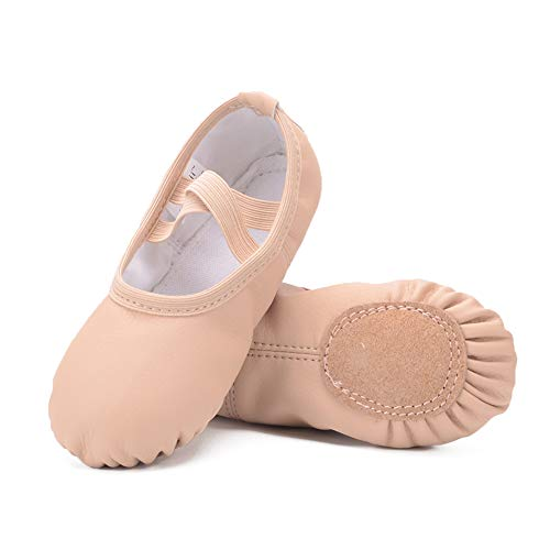 Ruqiji Leather Ballet Shoes for Girls/Toddlers/Kids/Women, Full Sole Leather Ballet
