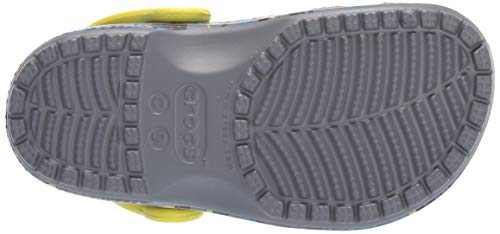 Crocs Kid's Classic Printed Neon Splatter Clog, Charcoal/Citrus CROCS FOR EVERYONE: Just like the adult Classic Crocs, the kids' version offers the same great shoe for youngsters; Easy on and easy off makes these the pair of Crocs kids need LIGHTWEIGHT & FUN: These kids' Crocs are incredibly light, fun to wear and sure to come in your child's favorite color; This is the perfect pair of Crocs for kids when playing in the dirt or running around the playground VERSATILE AND COMFORTABLE: Incredibly light and easy to wear, these girls' and boys' Crocs are created with Croslite foam for Iconic Crocs Comfort; The flexible material is sure to be loved by all MAKE THEM YOUR OWN: These girls' and boys' Crocs offer a roomy and generous fit that is sure to match every foot; The kids' Crocs can be customized with Jibbitz charms to reflect their own personal flair CROCS FOR BOYS AND GIRLS: These Crocs for girls and boys are fun to wear and easy to clean using soap and water; The options are endless when you expand your kids' wardrobe with these stylish shoes All-new graphic options refresh the iconic clog that started a comfort revolution around the world, Charmed kids everywhere and made parents fall in love with their easy-to-wear, easy-to-clean design! Crocs classic clogs feature lightweight iconic Crocs comfort and a color for every personality, and remind kids of all ages to go out and play.