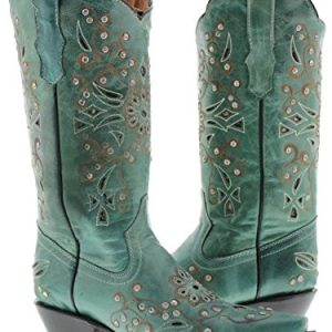 Cowboy Professional - Women's Turquoise Python Inlay Rhinestones Leather