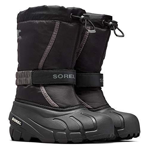 Sorel - Youth Flurry Winter Snow Boots for Kids, Black, City Grey