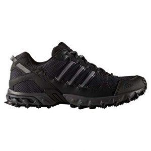 adidas Men's Rockadia Trail Running Shoe, Black/Black/Dark Grey Heather