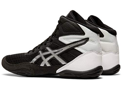 ASICS Kid's Matflex 6 GS Wrestling Shoes Hit the mats with ASICS® Kids Matflex 6 wrestling shoe and dominate thanks to its lightweight mesh upper, rugged rubber outsole, and supportive hi-top silhouette. Open mesh uppers with synthetic overlays for additional reinforcement. Lightly padded collar and tongue for comfort. Integrated lace garage safely tucks away laces so you can perform at your best. Full length rubber outsole provides outstanding traction on all mats. Imported. Measurements:Weight: 5 oz</p> <p>Product measurements were taken using size 2 Little Kid, width M. Please note that measurements may vary by size. Weight of footwear is based on a single item, not a pair. Ready, steady, wrestle! Kids who can't get enough of the sport will need a quality wrestling shoe to help lift their performance and confidence on the mat - no matter who their opponent may be. Introducing the ASICS kids' MATFLEX 6 GS wrestling shoe with comfort-boosting properties. The porous mesh insole acts as the base for comfort. The mesh design allows plenty of air to circulate within the shoe, keeping skin dry and refreshed. If excess sweat does start to accumulate when the going gets tough, the shoe's EVA sockliner will absorb it before it can distract your child's attention during an important match. Finally, the MATFLEX 6 GS comes equipped with California lasting for durability and total peace of mind. Help your child to make the most of their time on the mat with the ASICS kids' MATFLEX 6 GS wrestling shoe.