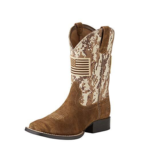 Kids' Patriot Western Cowboy Boot, Antique Mocha Washed Suede