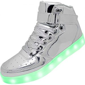 APTESOL Kids Youth LED Light Up Sneakers Unisex Boys Girls High Tops Cute Cool