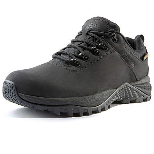 Wantdo Waterproof Men's Hiking Shoes Low Cut Hiking Boots Outdoor Hiking Trekking Backpacking Black 12 M US