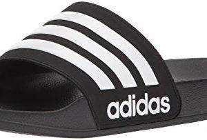 adidas Men's Adilette Shower Slide Sandal, White/Black