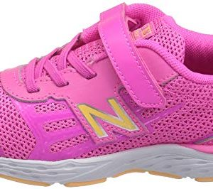 New Balance Girls' 680v5 Hook and Loop Running Shoe, Light Peony/Light Mango