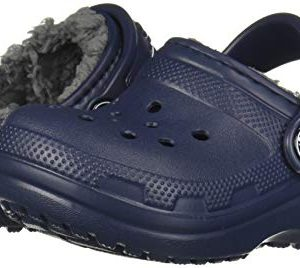 Crocs Kids' Classic Lined Clog, navy/charcoal