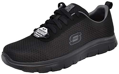 Skechers Men's Flex Advantage Bendon Work Shoe, Black/Charcoal