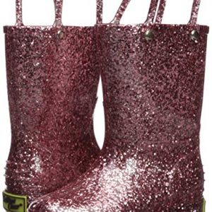 Western Chief Girl's Glitter Waterproof Rain Boot, Rose Gold
