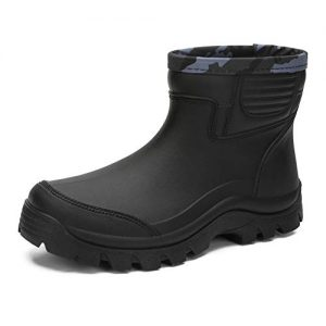 Enelauge Men's Waterproof Rain Short Boots Shoes Nonslip Rubber Rain Footwear