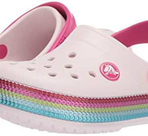 Crocs Kids' Crocband Sequin Band Clog, Barely Pink