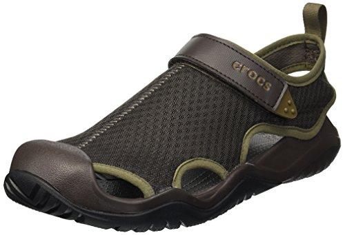 crocs Men's Swiftwater Mesh Deck Sandal Sport, Espresso